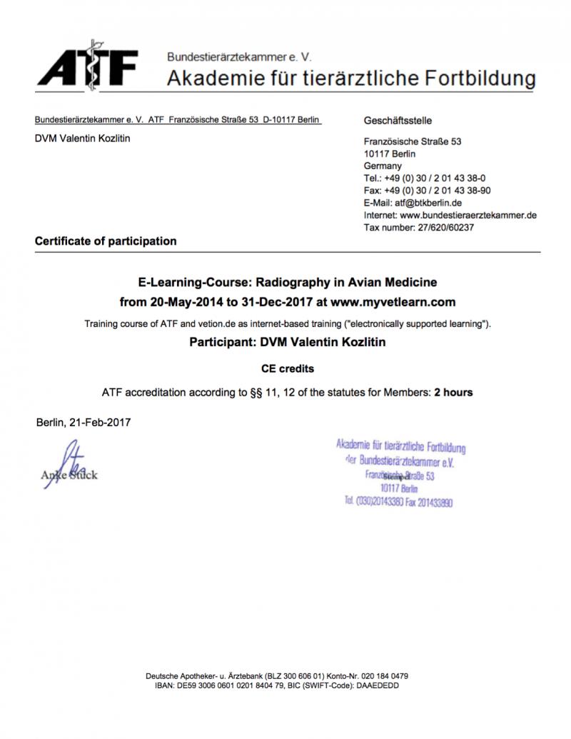 сертификат о повышении квалификации в рентгенологии птиц ветеринарного врача Валентина Козлитина специалиста по лечению птиц
