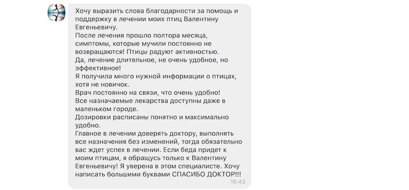 Отзыв о лечении волнистых попугаев онлайн врач Валентин Козлитин